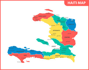 The detailed map of Haiti with regions or states and cities, capital. Administrative division.