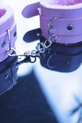 Leather bondage s&m handcuffs