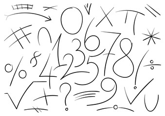 mathematical numbers and symbols hand drawn vector