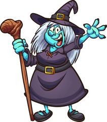 witch, happy, Halloween, fat, blue, green, female, cartoon, vector, gradient, isolated, character, illustration