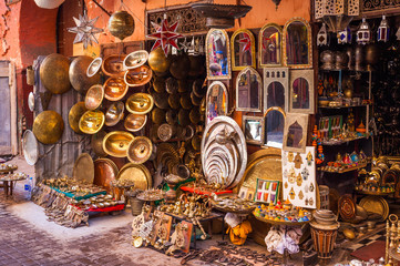 Metalwork for sale in Marrakesh souq, Morocco