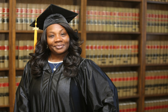 Young attractive African American female student, college graduate, law degree, professional career