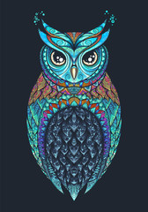 Owl with tribal ornament. Vector eps10 illustration.