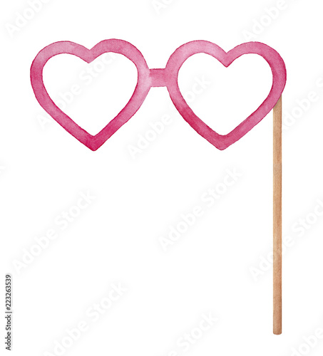 Heart Shaped Eye Glasses On Wooden Stick Photo Booth Props