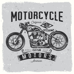 Vintage, custom motorcycle, bikers logo