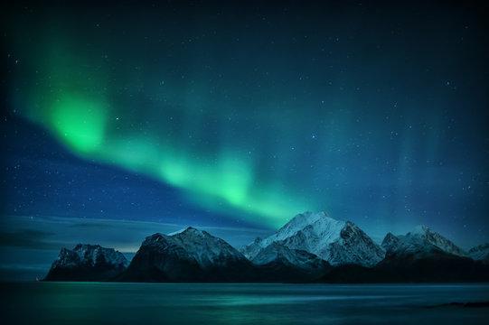 Northern lights over Mt. Himmeltinden, Lofoten, Nordland, Norway