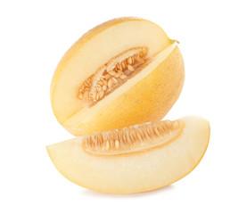 Sliced ripe tasty melon on white background