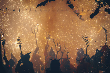 Silhouette of people at the Correfoc Festival, Catalonia, Spain