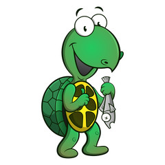 Cute Turtle catching a fish cartoon vector