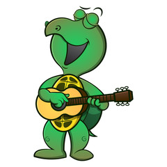 Cute Turtle playing guitars and sing Cartoon Vector
