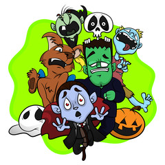 Group Of Supernatural Characters Running Scared, Happy Halloween Greeting Card, Cartoon Vector