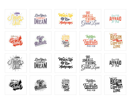 mixed various text words sentence typography typographic writing script font image vector icon symbol set