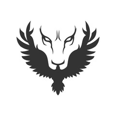Wolf or lion face and bird icon