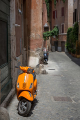 Scooters in hte Trastevere district of Rome, Italy