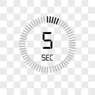 The 5 seconds vector icon isolated on transparent background, The 5 seconds logo design