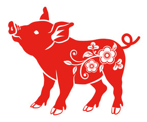 Floral Decorative Pig - Side View