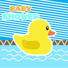 Baby shower card with a rubber duck