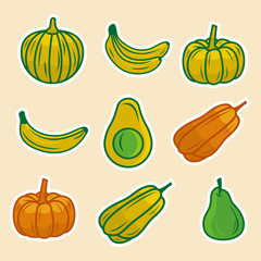 fruits set vector illustration with banana, avocado, pears and pumpkin