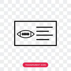 AMerican Football Ticket vector icon isolated on transparent background, AMerican Football Ticket logo design