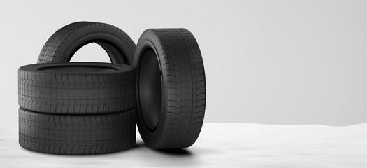 car tires winter snow 3d-illustration