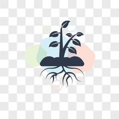Plant and root vector icon isolated on transparent background, Plant and root logo design