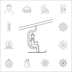 man on the ski lift icon. Winter icons universal set for web and mobile