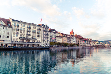 Luzern, Switzerland - August 28, 2018 : View of Luzern city, River Reuss with old building, Luzern, Switzerland.