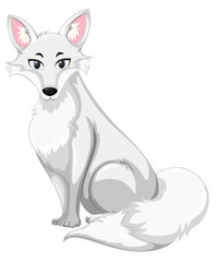 A white wolf on white background