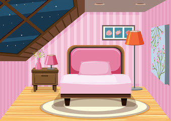 A pink attic bedroom