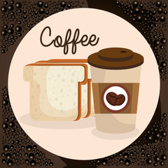 delicious coffee in cup plastic and bread toast