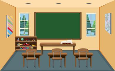An interior empty classroom