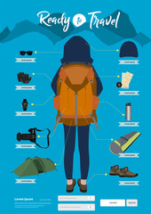 Vector travel items and objects. Traveling ready to travel like backpack ideas concept