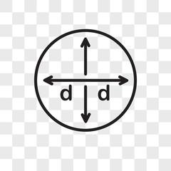 Diameter vector icon isolated on transparent background, Diameter logo design