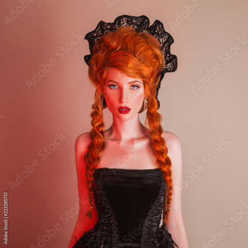 Gothic Halloween Clothes Young Enchanting Redhead Queen With