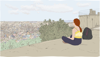Young woman relaxes and meditates high above a European city, overlooking the cityscape below. Hand drawn illustration.