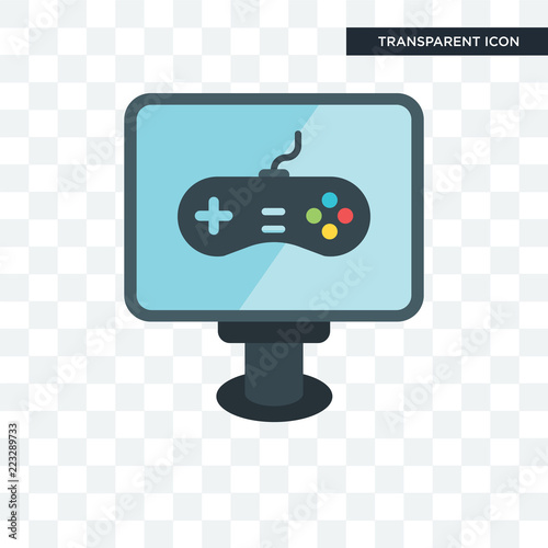 Pc game vector icon isolated on transparent background, Pc