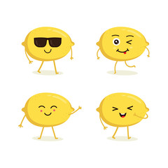 Cute vector set of lemon fruit character in different action emotion. Collection of lemon characters in different expressions, Funny fruit character isolated on white background