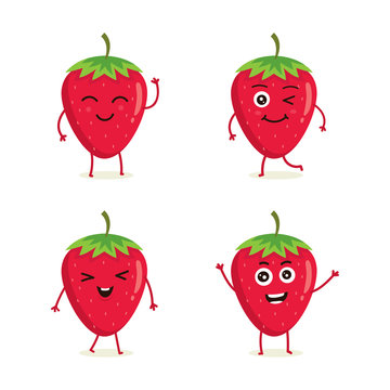 Cute vector set of strawberry fruit character in different action emotion. Collection of strawberry characters in different expressions, Funny fruit character isolated on white background