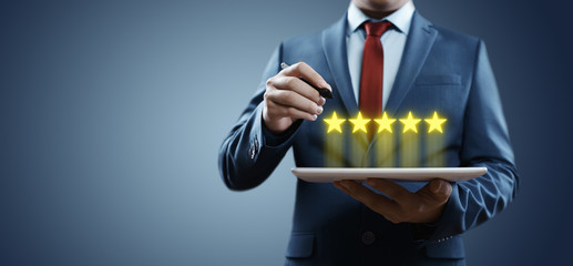 5 Five Stars Rating Quality Review Best Service Business Internet Marketing Concept