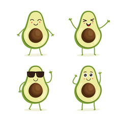 Cute vector set of avocado fruit character in different action emotion. Collection of avocado characters in different expressions, Funny fruit character isolated on white background