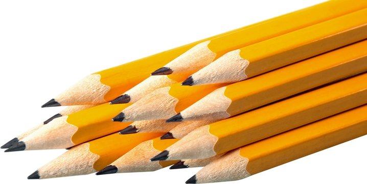 Pencil sharpened pencils close-up stack education yellow sharp