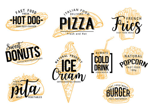 Fast food pizza and burgers vector lettering