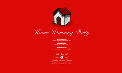Open House Invitation with Date Time Details and Simple House Vector Illustration