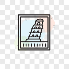 Pisa tower vector icon isolated on transparent background, Pisa tower logo design