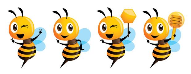 Cartoon cute bee mascot series. Cartoon cute bee pointing. vector illustration isolated