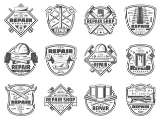 Home repair work tools and instruments icons