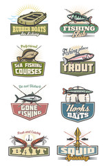 Fishing club and fisher equipment vector icons