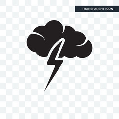 Cloud with thunderbolt vector icon isolated on transparent background, Cloud with thunderbolt logo design