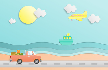 Illustration of driving a car and plane ,Passenger boat Travel in summer on sea beach. Paper cut and craft style. vector, illustration.