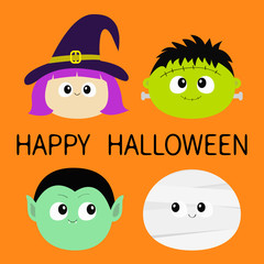 Happy Halloween. Vampire count Dracula, Mummy, whitch hat, Frankenstein zombie round face head icon set. Cute cartoon funny spooky baby character. Greeting card. Flat design Orange background.